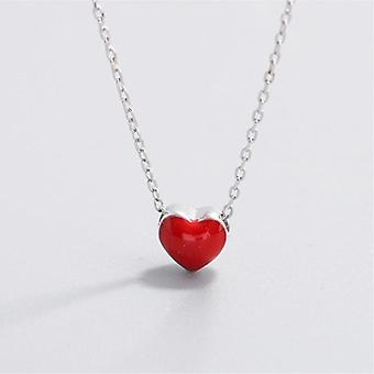 Cute Heart Red Clavicle Silver Chain Necklace