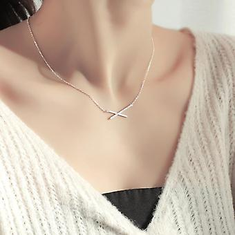 Silver Aaa Zircon Geometric Strip Pendant Necklaces