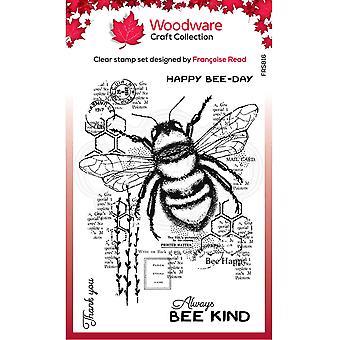 Woodware Francoise Lue selkeät singlet Bee Kind 4 x 6 kirkkaana leimana