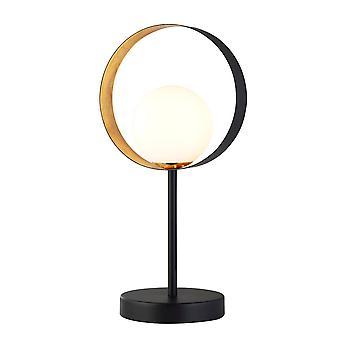 Searchlight Orbital 1 Lekka matowa czarna i złota lampa stołowa z opalowym szkłem