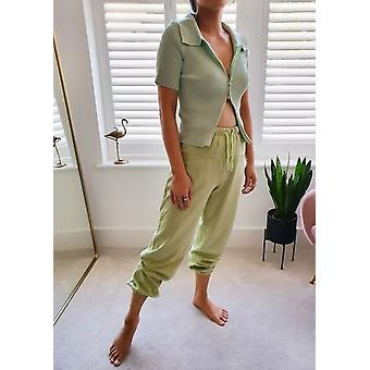 High Waisted Oversized Jogger Trousers Green