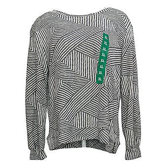 Ellen Tracy Women's Sweater Jacquard Crewneck Striped Top Gray