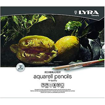 Lyra Metal Case with 2011240 Rembrandt Watercolour Pencils, Assorted Colours