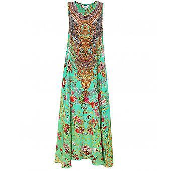 Inoa Chartreuse Silk Sleeveless Maxi Dress