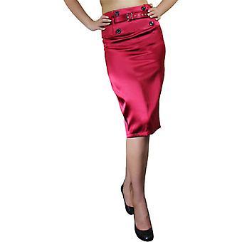 Chic Star High-Waist Belted Satin Pencil Skirt In Burgundy