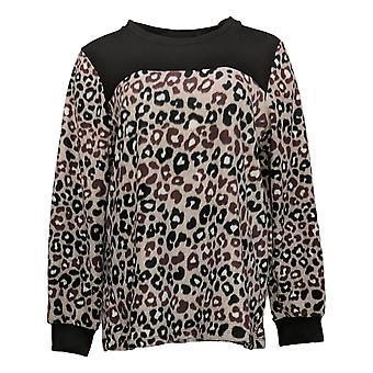 Cuddl Duds Dames's Sweater Fleecewear Crew-Neck Pullover Top Bruin A381759
