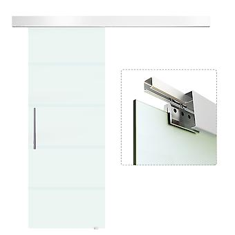 HOMCOM 75cm Sliding Glass Door 8mm Single-sided Frosted Tempered Glass with Stripe Pattern Hardware Track Kit with Stainless Steel Handle