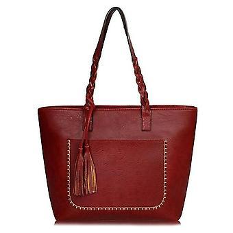 Bolso vintage mujeres cuero marrón bolso hombro señoras retro tote grandes bolsos de pu bolso 2019 moda grandes bolsos negros xa540d