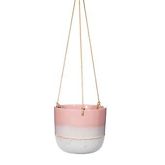Sass & Belle Mojave Glaze Pink Hanging Planter