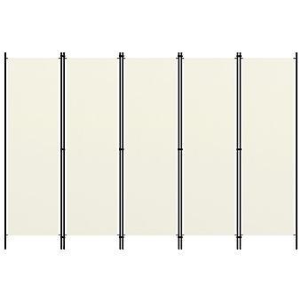 vidaXL 5-pcs. Room divider Cream White 250x180 cm