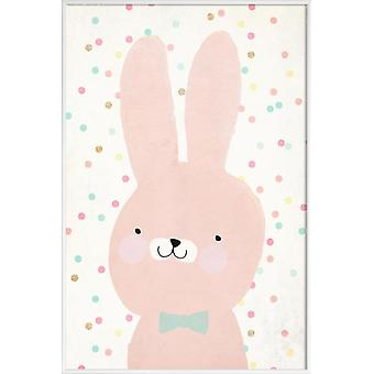 JUNIQE Print -  Hase 2 - Kaninchen Poster in Rosa & Weiß