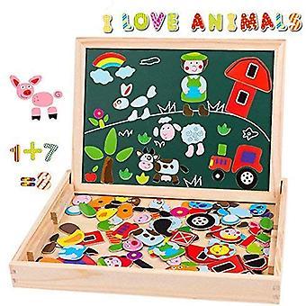 FengChun magnetisches Holzpuzzle Staffeleiseitige doppel Tafel Holzbrett Doodle 155 Stcke fr Kinder