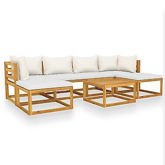 vidaXL 7-tlg. Kit de jardin-salon avec crème bois massif acacia