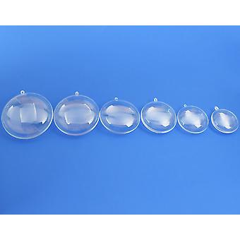 Enkele tweedelige 80mm Flat Locket Style Clear Plastic Kerstballen ornament