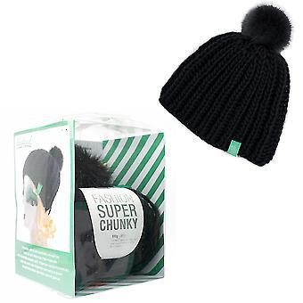 Ribbed Knit Hat with Pom Pom Adults Knitting Craft Kit - Black