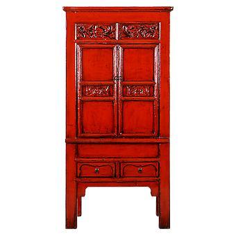 Fino Asianliving Antiguo Gabinete Chino Rojo Brillante Tallado a mano W84xD45xH181cm