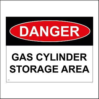CS167 Danger Gas Cylinder Storage Area Sign