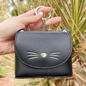 كيت سبيد القط الأسود عملة محفظة الحقيبة مفتاح حلقة فوب سحر الجدة