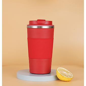 Isolierter Reisebecher mit wasserdichtem Deckel aus Edelstahl 304, geeignet für heißen und kalten Kaffee, Milch und Tee (Rot)