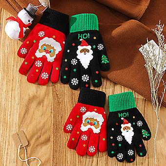 Christmas Gloves Warm Autumn And Winter Five-finger Gloves Adult Gloves Touch Screen Gloves Christmas Gifts Parent-child Red Black