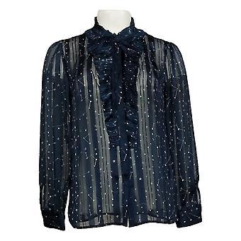 G by Giuliana Women's Top XSPrinted Shadow Stripe Button Up Shirt Blue 675750