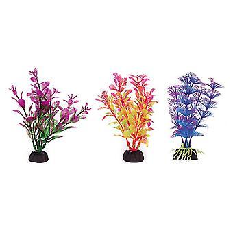"""Penn Plax Colorful Aquarium Plastic Plant Pack 4"""" Assorted Colors - 6 count"""