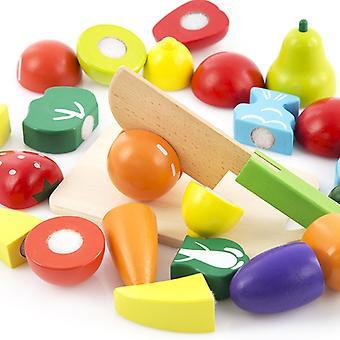Baguette magique Combinaison de fruits et légumes en bois Ensemble de jouets pour enfants Simulation Jeu de cuisine Cadeau d'anniversaire pour enfants