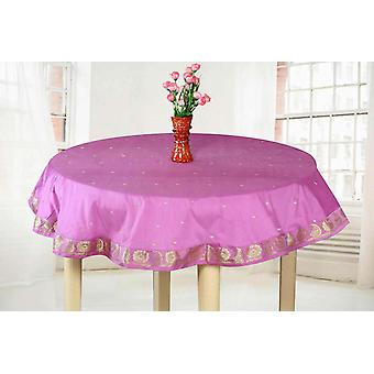 Lavender  - Handmade Sari Tablecloth (India) - Round