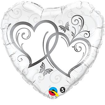 Qualatex 18 Inch Heart-Shaped Entwined Hearts Foil Wedding/Anniversary Balloon