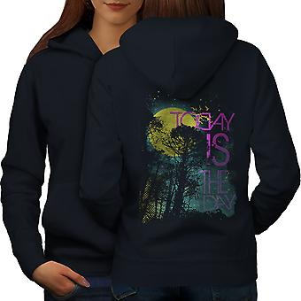 Today Is The Day Horror Women NavyHoodie Back   Wellcoda
