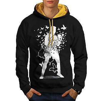 Vlinder menselijke vak Sport mannen zwart (gouden kap) Contrast Hoodie | Wellcoda