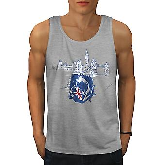 Pitbull England UK Dog Men GreyTank Top | Wellcoda