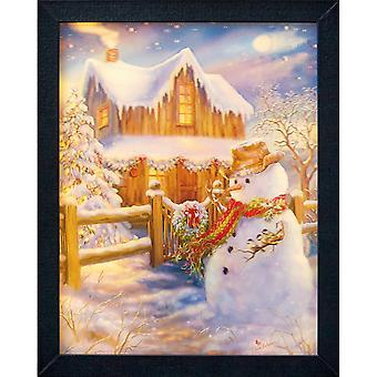 Christmas Shop 3D Lit Snowman Lenticular Picture