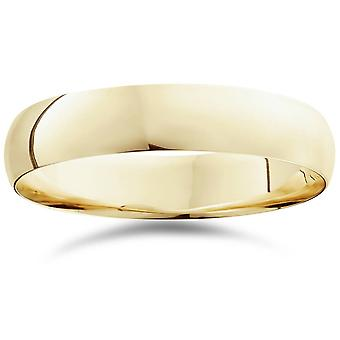 5mm Dome High Polished Wedding Plain Band 10K Yellow Gold Ring