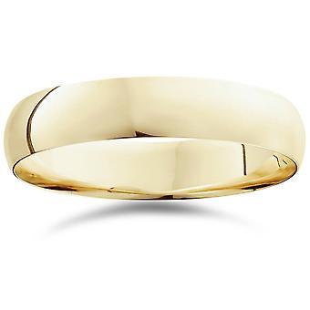5mm Dome Hochebene polierte Hochzeit Band 10K Gelbgold Ring