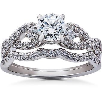 1 1 / 6ct Diamant Infinity Engagement Trauring Braut Set 14K White Gold