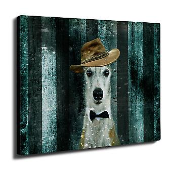 Greyhound Cute Funny Wall Art Canvas 40cm x 30cm | Wellcoda