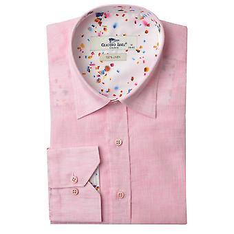 Claudio Lugli Oxford Linen Abstract Speckle Trim Mens Shirt
