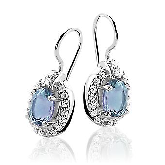 Orphelia Silver 925 Earring Blue Topaz Zirconium  ZO-5211/1