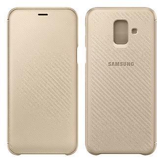 Tapa de carpeta Samsung caso EF WA600CFEGWW galaxia A6 A600F 2018 protectora manga de oro
