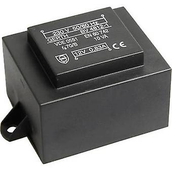 Gerth PT481802F PCB mount transformer 1 x 230 V 2 x 9 V AC 10 VA 555 mA