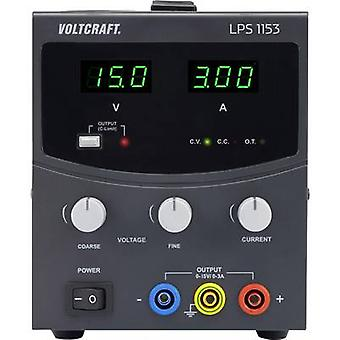 VOLTCRAFT LPS1153 Bench PSU (adjustable voltage) 0 - 15 V DC 0 - 3 A 45 W No. of outputs 1 x