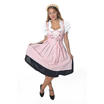 Dirndl Oktoberfest de lux Dirndel femeii costum alb roz cu șorț Wiesn