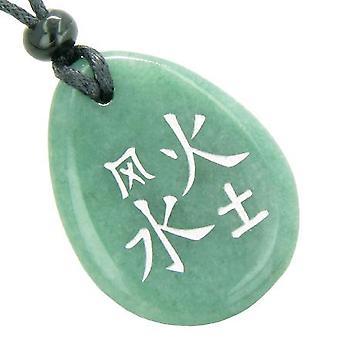 Heldig liv Kanji elementer Air brann vann jorden lykke Amulet Aventurine Totem kjede anheng