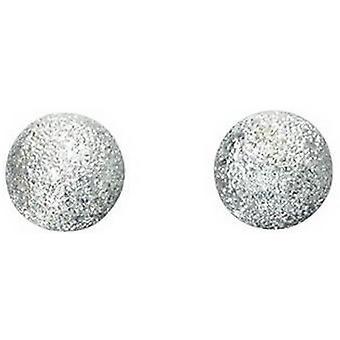 Begynnelse store diamant kuttet Ball Stud øredobber - sølv