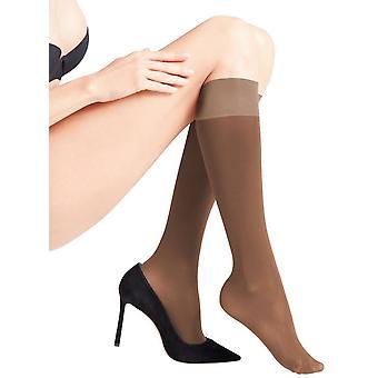 Falke Seidenglatt 40 Den Semi dekkend knie hoog glanzende panty - koffie bruin