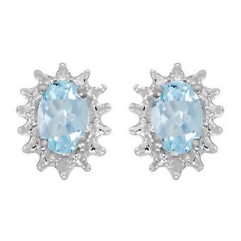 LXR 14k White Gold Oval Aquamarine and Diamond Earrings 0.58ct
