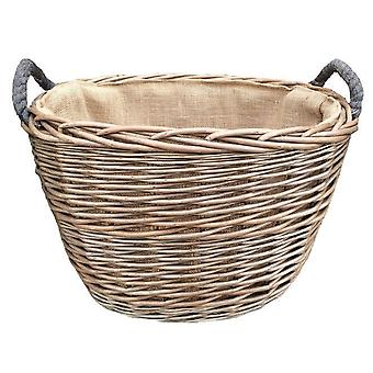 Large Oval Hessian Lined Log Basket