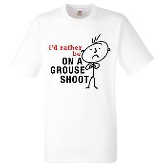 Mens que eu prefiro ser um Grouse disparar camiseta branca