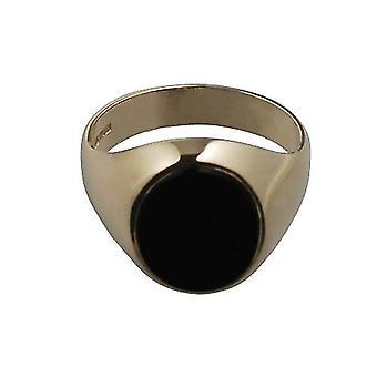 """9 قيراط الذهب 12x10mm الجزع وسادة رجالي """"حجم الخاتم الدائري الخامس"""""""